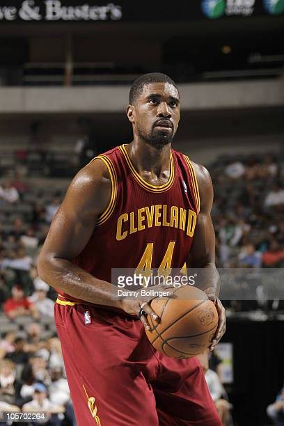 Leon Powe of the Cleveland Cavaliers shoots a free throw during a preseason game against the Dallas Mavericks on October 11 2010 at the American...