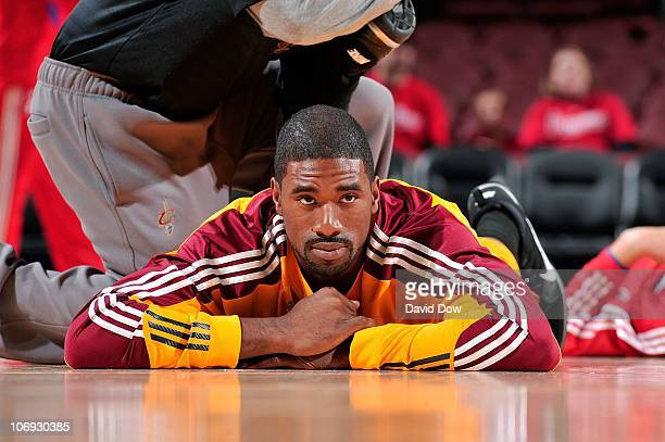 Leon Powe of the Cleveland Cavaliers stretches before the NBA game against the Philadelphia 76ers on November 5 2010 at the Wells Fargo Center in...