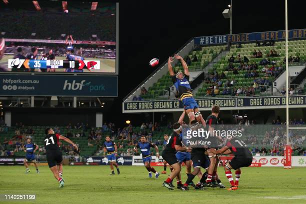 Leon Power of the Force contests for a lineout during the Rapid Rugby match between the Western Force and the Asia Pacific Dragons at HBF Stadium on...