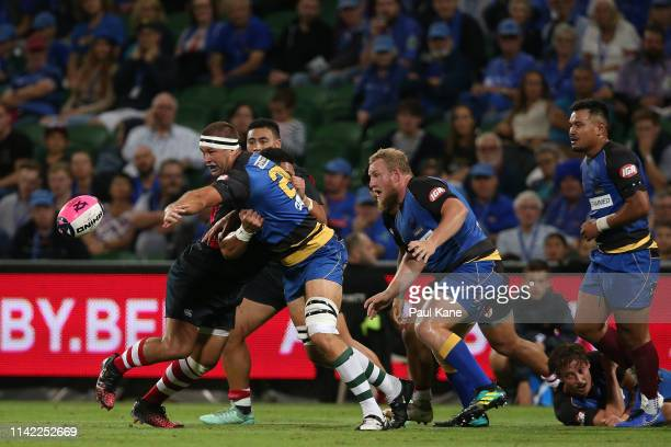 Leon Power of the Force offloads the ball during the Rapid Rugby match between the Western Force and the Asia Pacific Dragons at HBF Stadium on April...