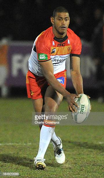 Leon Pryce of Catalan Dragons attacks during the Super League match between London Broncos and Catalan Dragons at Molesey Road on March 28 2013 in...