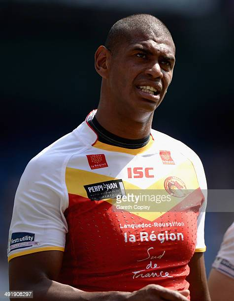 Leon Pryce of Catalan Dragons during the Super League match between London Broncos and Catalan Dragons at Etihad Stadium on May 17 2014 in Manchester...
