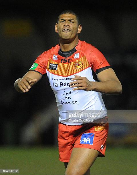 Leon Pryce of Catalan Dragons shouts during the Super League match between London Broncos and Catalan Dragons at Molesey Road on March 28 2013 in...