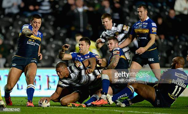 Leon Pryce of Hull FC scores his second try during the First Utility Super League match between Hull FC and Leeds Rhinos at KC Stadium on March 5...