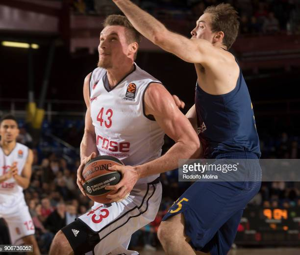 Leon Radosevic #43 of Brose Bamberg in action during the 2017/2018 Turkish Airlines EuroLeague Regular Season Round 19 game between FC Barcelona...