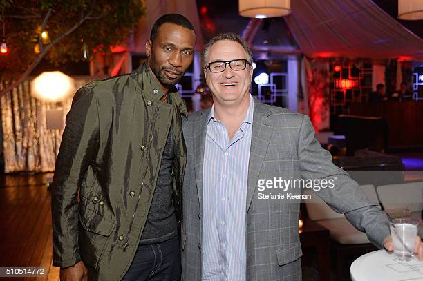 Leon Robinson and Jason Weinstock attend Red Light Management 2016 Grammy After Party presented by Citi at Mondrian Hotel on February 15 2016 in Los...