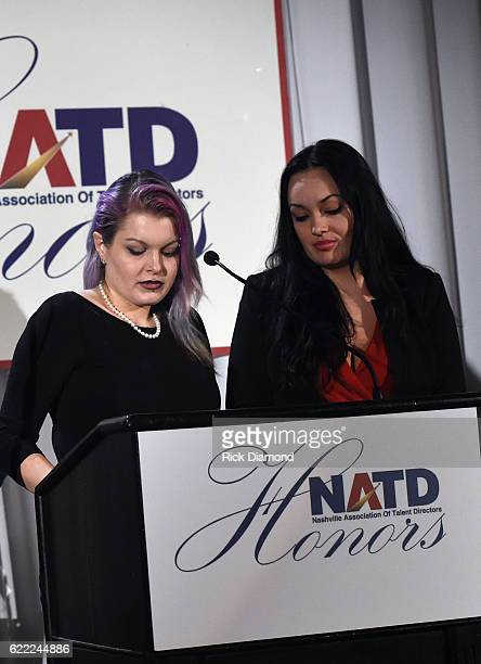 Leon Russell's daughters CoCo Russell and Sugaree Noelk accept for their dad Honoree Leon Russell at the 2016 NATD Honors Gala at Hermitage Hotel on...