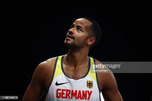 Leon Schaefer of Germany celebrates winning the Men's F63 Long Jump on Day Four of the IPC World Para Athletics Championships 2019 Dubai on November...
