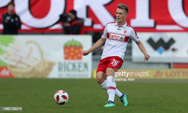 Leon Schneider of Cottbus runs with the ball during the 3 Liga match between FC Energie Cottbus and VfL Sportfreunde Lotte at Stadion der...