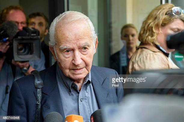 Leon Schwarzbaum, survivor, speaks to the press after the trial of Oskar Groening a former member of the Waffen-SS who worked at the Auschwitz...