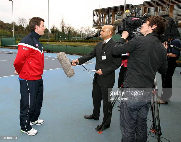 Leon Smith talks to the media after being elected Davis Cup captain on April 12, 2010 at The LTA National Tennis Centre, Roehampton in London,...