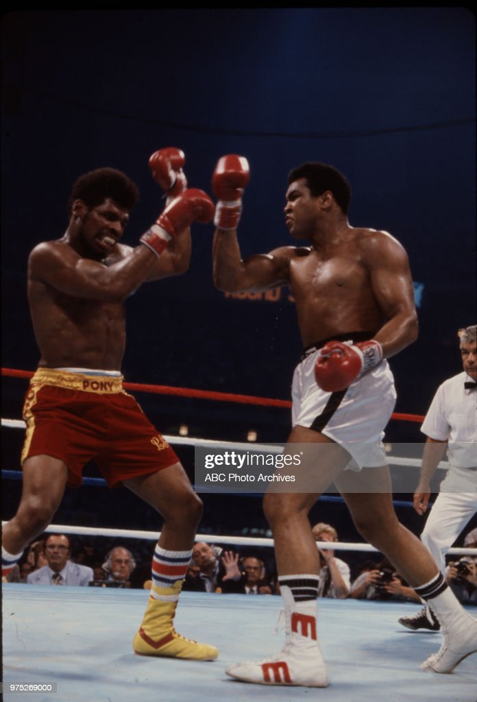 Leon Spinks, Mohammad Ali boxing at the Las Vegas Hilton, Winchester, Nevada, Feb 15, 1978.