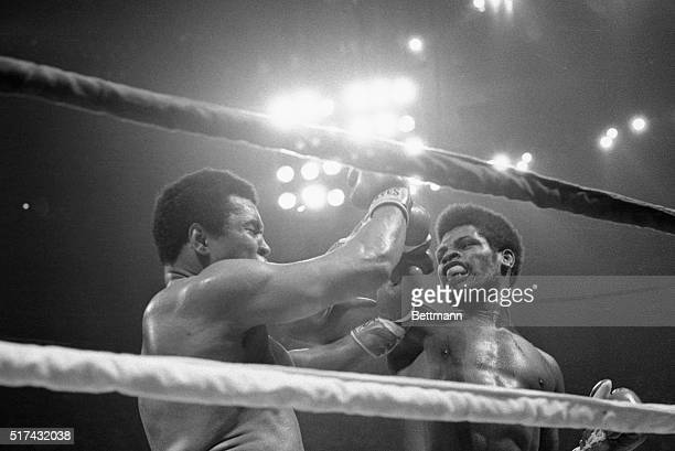 Leon Spinks rips a hard right to the face of Muhammad Ali during their fight in the Superdome 9/15.