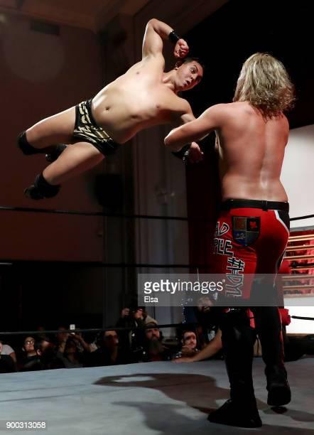 Leon St Giovanni flies into 'The Bad Apple' Matt Macintosh during Capitol Wrestling World War IV on December 29 2017 at Capitol Auditorium in Hoboken...