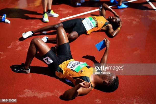 Leon Tafirenyika of Zimbabwe cools off following heat 3 of the men's 4x400m heats on day five of The IAAF World U20 Championships on July 10 2018 in...