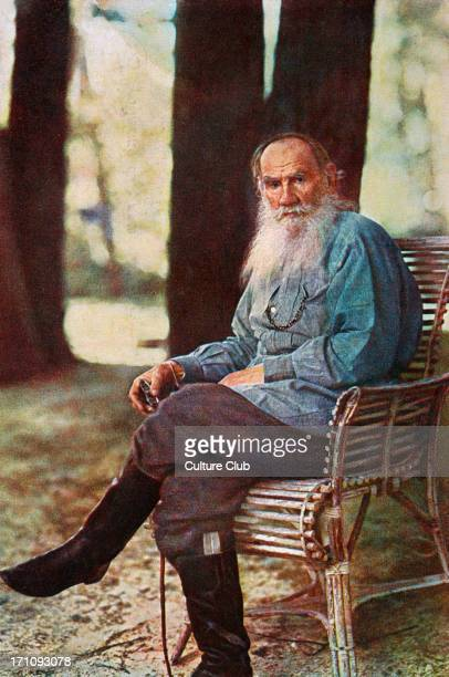 Leon Tolstoy, seated outdoors. Russian writer 1828 -1910