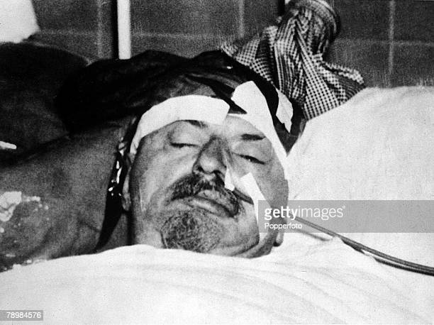 Leon Trotsky lays dying in hospital in Mexico City after the exiled Russian Bolshevik leader was savagely attacked and fatally wounded at his home in...