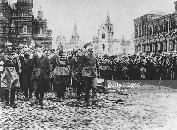 Leon Trotsky People's Commissar of Military and Naval Affairs of the Soviet Union and his cadre during a parade of the Red Army at the Red Square in...