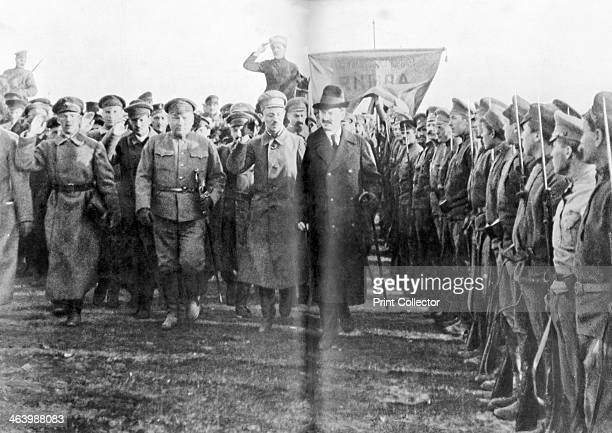 Leon Trotsky People's Commissar of War reviewing Red Army troops in Moscow Russia 1918 After its conspicuous failure to halt German offensives in...