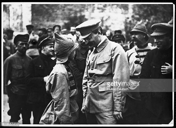 Leon Trotsky Talking to Young Man