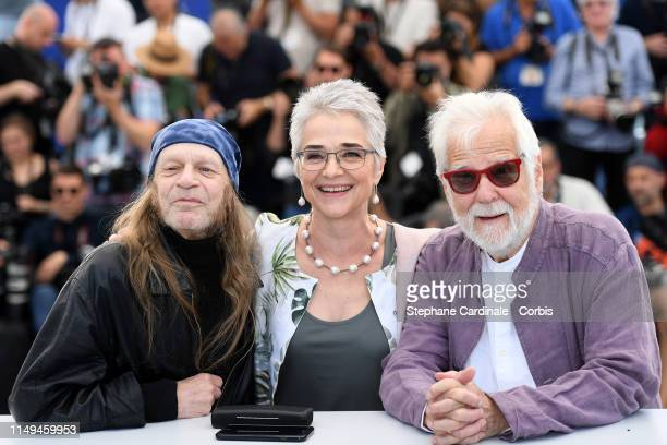 Leon Vitali Katharina Kubrick and Producer Jan Harlan attend the photocall for The Shining during the 72nd annual Cannes Film Festival on May 16 2019...