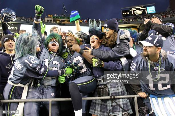 Leon Washington of the Seattle Seahawks celebrates the Seahawks 4136 victory against the New Orleans Saints during the 2011 NFC wildcard playoff game...