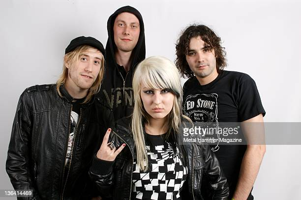 Leon Watkins Tom Hall Danni Monroe and Matthew Bond of Welsh rock band The Dirty Youth during a portrait shoot at Bloodstock Festival August 16 2008