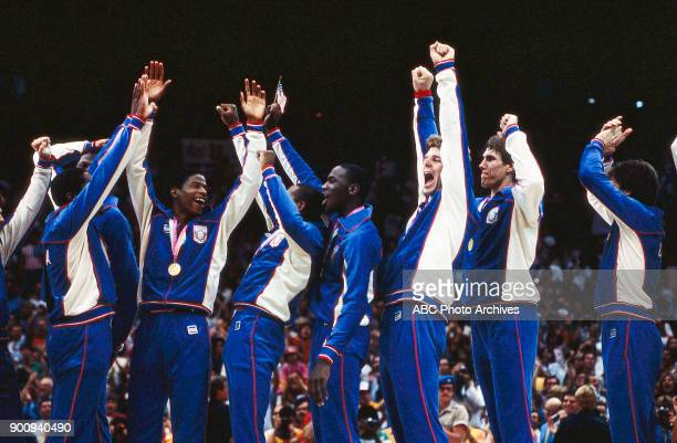 Leon Wood Michael Jordan Joe Kleine Jon Koncak Men's Basketball medal ceremony the Forum at the 1984 Summer Olympics August 10 1984