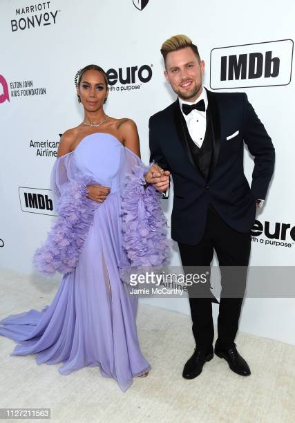 Leona Lewis and Dennis Jauch attend the 27th annual Elton John AIDS Foundation Academy Awards Viewing Party sponsored by IMDb and Neuro Drinks...