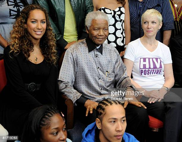 Leona Lewis Annie Lennox with Nelson Mandela at the InterContinental Hotel Park Lane in advance of the 46664 concert being held at Hyde Park on...
