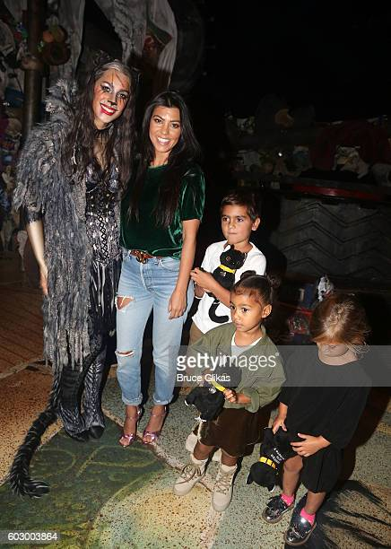Leona Lewis as 'Grizabella the Glamour Cat' Kourtney Kardashian Mason Disick North West and Penelope Disick pose backstage at 'Cats' on Broadway at...