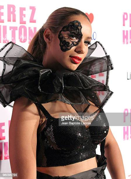 Leona Lewis attends Perez Hilton's CarnEvil Theatrical Freak and Funk 32nd birthday party at Paramount Studios on March 27 2010 in Los Angeles...