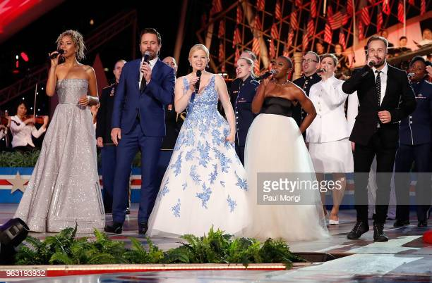 Leona Lewis Charles Esten Megan Hilty Cynthia Erivo and Alfie Boe perform during the finale of the 2018 National Memorial Day Concert at US Capitol...