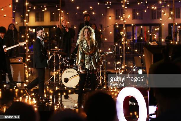 Leona Lewis performs her new single with Calum Scott on The One Show filmed at BBC Broadcasting House on February 14 2018 in London England