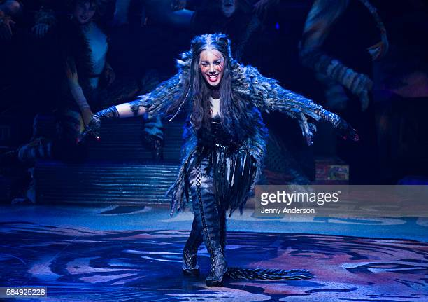 Leona Lewis takes her curtain call during 'Cats' Broadway Opening at Neil Simon Theatre on July 31 2016 in New York City