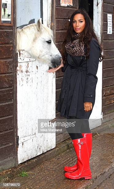 Leona Lewis takes part in a sponsored walk to raise funds for Hopefield Animal Sanctuary of which she is a patron at Hopefield Animal Sanctuary on...
