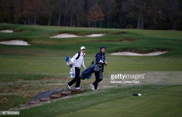 Leona Maguire and Sophie Lamb of team GBI walk the course during Curtis Cup practice at Quaker Ridge GC on November 22 2017 in Scarsdale New York