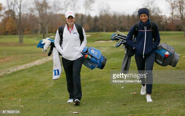 Leona Maguire and Sophie Lamb of the GBI team walk the course during Curtis Cup practice at Quaker Ridge GC on November 22 2017 in Scarsdale New York
