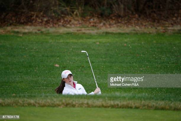 Leona Maguire hits a shot during Curtis Cup practice at Quaker Ridge GC on November 22 2017 in Scarsdale New York