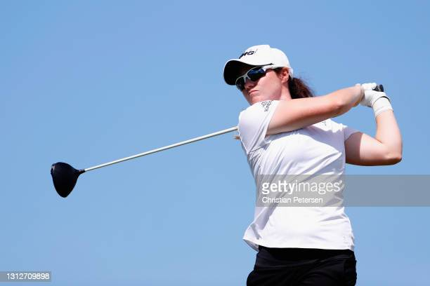 Leona Maguire of Ireland plays a tee shot on the 13th hole during the second round of the LPGA LOTTE Championship at Kapolei Golf Club on April 15,...