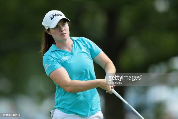 Leona Maguire of Ireland tees off on the third tee during the third round of the Marathon LPGA Classic presented by Dana golf tournament at Highland...