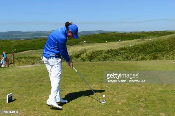Leona Maguire of Slieve Russell tees off on the 14th hole during day three of the Ladies British Open Amateur Championship at Pyle and Kenfig Golf...