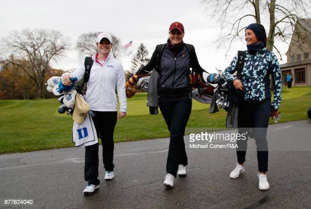 Leona MaguireOlivia Mehaffey and Sophie Lamb during Curtis Cup practice at Quaker Ridge GC on November 22 2017 in Scarsdale New York