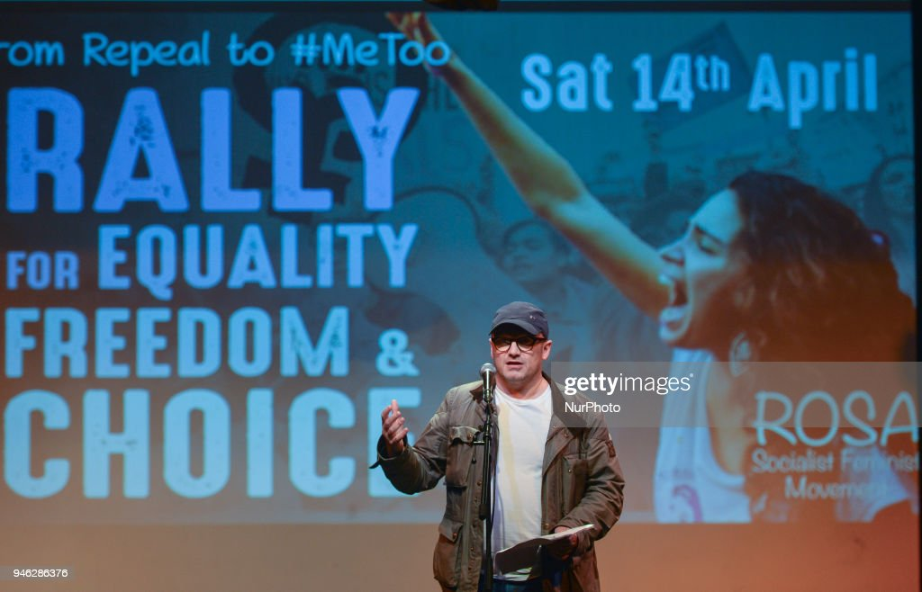 Leonard Abrahamson, an Irish film and television director, speaks a Rally for Equality, Freedom & Choice organised by ROSA - an Irish Socialist Feminist Movement at Liberty Hall in Dublin. On Saturday, April 14, 2018, in Dublin, Ireland.