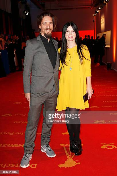 Leonard Andreae and Anna Fischer attend the Goldene Kamera 2014 at Tempelhof Airport on February 01 2014 in Berlin Germany