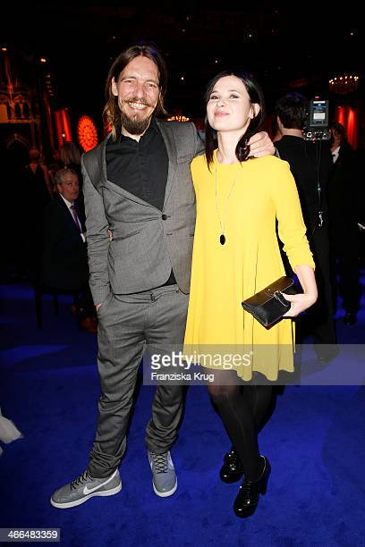Leonard Andreae and Anna Fischer attend the Goldene Kamera 2014 at Tempelhof Airport on February 01, 2014 in Berlin, Germany.