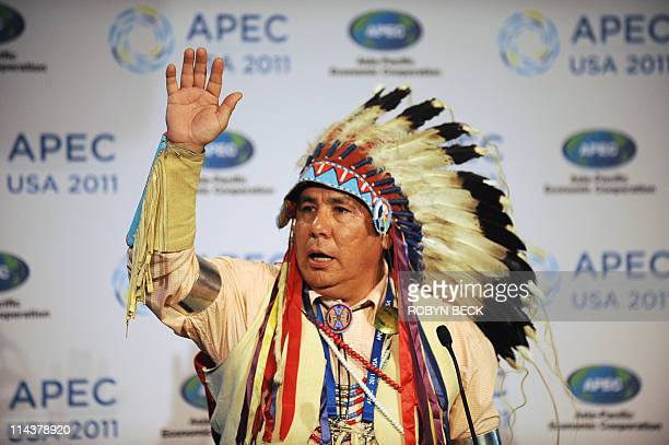 Leonard Bends spiritual leader of the Native American Crow Nation gives a blessing at the APEC Ministerial Meeting welcome reception in Big Sky...