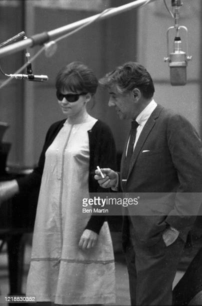 Leonard Bernstein and Barbara Harris rehearse a tribute performance for slain Cradle Will Rock composer Marc Blitzstein at Philharmonic Hall with...