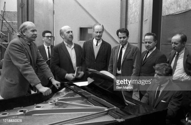 Leonard Bernstein and colleagues rehearse a concert for slain Cradle Will Rock composer Marc Blitzstein at Philharmonic Hall with proceeds going...