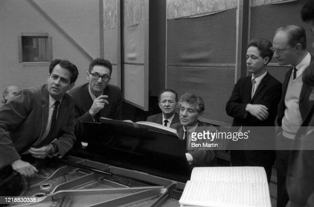 Leonard Bernstein and colleagues rehearse a tribute concert for slain Cradle Will Rock composer Marc Blitzstein at Philharmonic Hall with proceeds...
